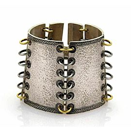 Gurhan Lancelot 24k Gold & Sterling Wide Hammered Bracelet
