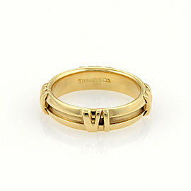 Tiffany & Co. Atlas Roman Numeral 18k Yellow Gold Band Ring Size 5