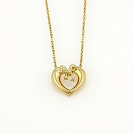 Tiffany & Co. 18k Yellow Gold Heart & Bow Pendant
