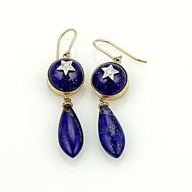 Estate Diamond Star & Lapis 9k Two Tone Gold Drop Dangle Earrings
