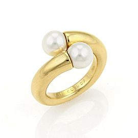 Cartier Toi et Moi Akoya Pearls 18k Yellow Gold Bypass Ring - Size 7