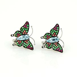 Butterfly 18k Gold Earrings with 4.00ct Blue Topaz Tsavorite & Sapphires