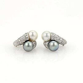 Estate 18k White Gold Diamonds & Two Pearls Stud Earrings