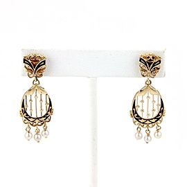 Estate Pearls & Enamel Dangle 14k Yellow Gold Earrings