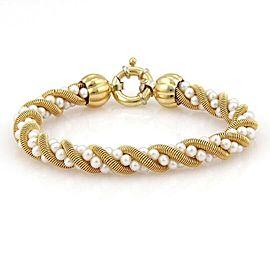 Estate 18k Yellow Gold & Pearls Twisted Design 8.5mm Bracelet