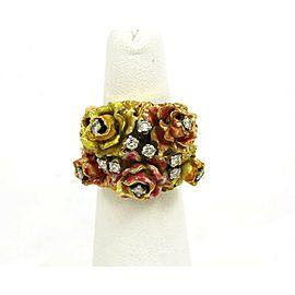 Heavy Enamel & Diamonds Floral 18k yellow Gold Ring