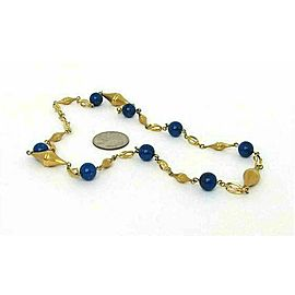 Lapis Bead Fancy Textured 14k Yellow Gold Link Necklace