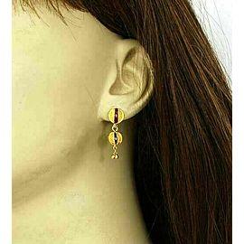 Fancy Enamel Beaded 22k Gold Ball Drop Dangle Earrings