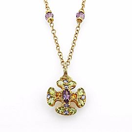 Amethyst Peridot & Citrine 14k Yellow Gold Cross Pendant & Chain Necklace