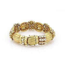 Heavy 18k Yellow Gold 9.00ct Diamonds Ribbed Link Bracelet