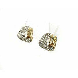Estate 18k Two tone 1.50ct Pave Diamond Mini Hoop Earrings
