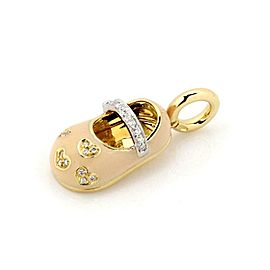 Aaron Basha Diamond 18k Two Tone Gold Hearts Enamel Baby Shoe Charm