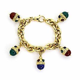 Legnazzi Multi-Color Gems 18k Yellow Gold 5 Fancy Egg Charms Chain Bracelet
