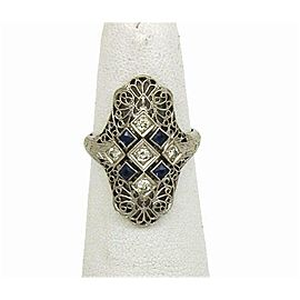 Diamond & Sapphire Art Deco 18k White Gold Filigree Ring