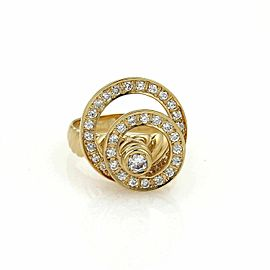 Diamond Double Open Circle Spinner 18k Yellow Gold Ring