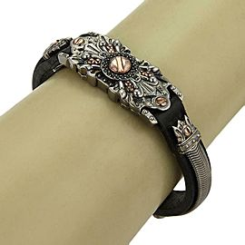Stephen Webster No Regrets Sterling Black Rhodium Rose Gold Leather Bracelet