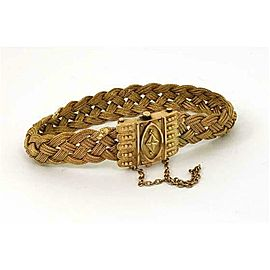 Victorian 14k Yellow Gold Mesh Chain Braided Fancy Bracelet