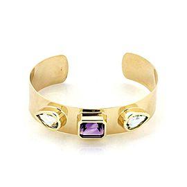 14k Yellow Gold Amethyst & Topaz 16mm Wide Cuff Bracelet