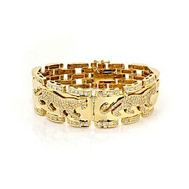 18k Yellow Gold 2.8ct Diamond Double Panther & Link Wide Bracelet