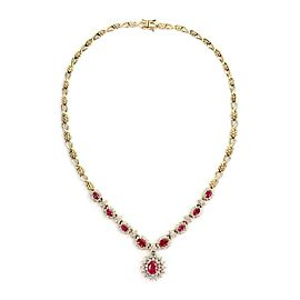 Vintage 8.10ct Diamond & Ruby 14k Yellow Gold Floral Necklace