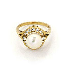 Mikimoto Diamond 8.5mm Akoya Pearl 18k Yellow Gold Cocktail Ring Size 6