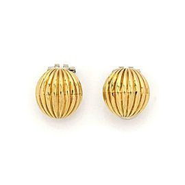 Vintage Gucci 18k Yellow Gold Half Dome Fluted Clip On Earrings w/Box