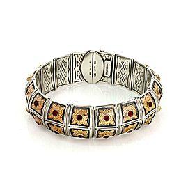 Konstantino 3.50ct Garnet 925 Silver 18k Rose Gold Floral Dome Bracelet
