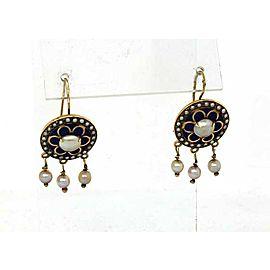 Vintage 14k Yellow Gold Enamel & Pearls Floral Hook Drop Dangle Earrings