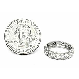 Vintage Platinum & Diamond Fancy Milgrain Design Dome Band Ring Size 5.5