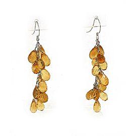 18k White Gold Multi-Bead Citrine Gemstones Long Dangle Earrings