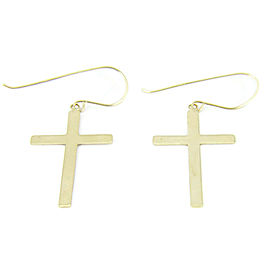14k Yellow Gold Cross Drop Dangle Earrings