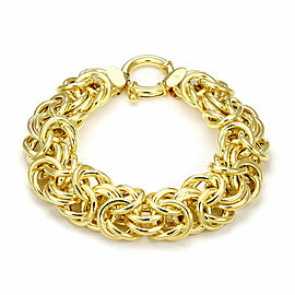 Wide Byzantine 16mm 14k Yellow Gold Link Bracelet Italy