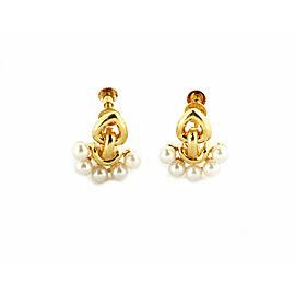 Dior Pearls 18k Yellow Gold Fancy Screw Back Earrings
