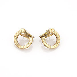 Bulgari 18k Yellow Gold Signature Curved C Shape Post Clip Earrings