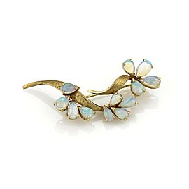 Estate 14k Yellow Gold & Opal Floral Sprig Brooch