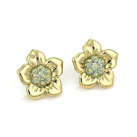 Estate Blue Topaz 18k Yellow Gold Floral Post Clip Earrings