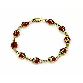 Red & Black Enamel 10 Lady Bug 14k Yellow Gold Bracelet