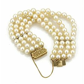 Estate 14k Yellow Gold Multi-Strand 7mm Pearl Bracelet