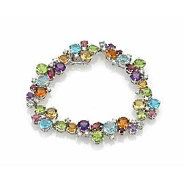 Diamonds & Multicolor Gems 18k White Gold Bracelet