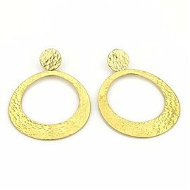 Ippolita Glamazon Hammered Large Oval Dangle 18k Yellow Gold Earrings