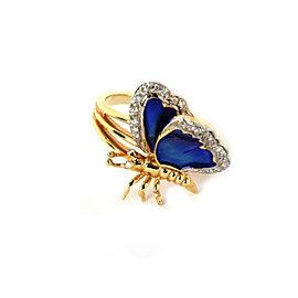 Diamond Blue Enamel Double Wing 14k Two Tone Gold Butterfly Ring