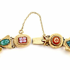 Estate Multicolor Gems Floral Cameo 14k Yellow Gold 11 Slide Charms Bracelet