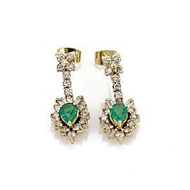 Diamond & Emerald 18k Yellow Gold Floral Dangle Earrings