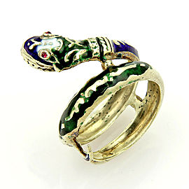 Vintage Enamel & Ruby Coiled 14k Yellow Gold Snake Ring