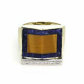 Estate Men's Diamond & Gems 14k Gold Large Fancy Design Ring Size 11