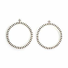 Roberta Porrati 2.25ct Diamonds Pearls 18k Rose Gold Large Hoop Earrings