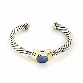 David Yurman Noblesse Chalcedony Sterling & 14k Gold Cuff Bangle Bracelet