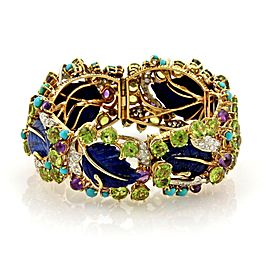 """Curved Lapis Turquoise Peridot Diamonds 18k Yellow Gold Floral Bracelet 1"""" Wide"""