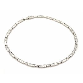 Tiffany & Co. ATLAS 1.50ct Diamond 18k White Gold Curved Bar Collar Necklace