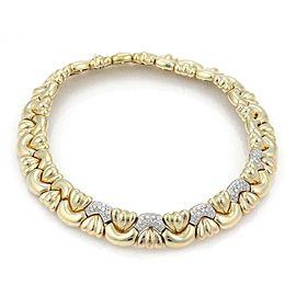 Estate 2.5 Carats Diamond 18k Gold Wide Fancy Collar Necklace 159 Grams